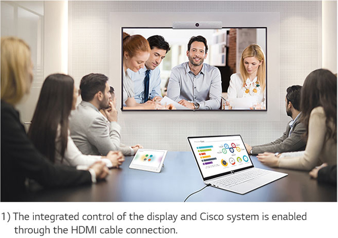 Conference call between a group of workers in a meeting room and another team being displayed on a mounted LG display. Below the image is text that reads: 1) The integrated control of the display and Cisco system is enabled through the HDMI cable connection.