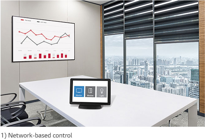 LG display mounted in an office conference room where a tablet on a stand is on the main table. Below the image is disclaimer text that reads: 1) Network-based control.