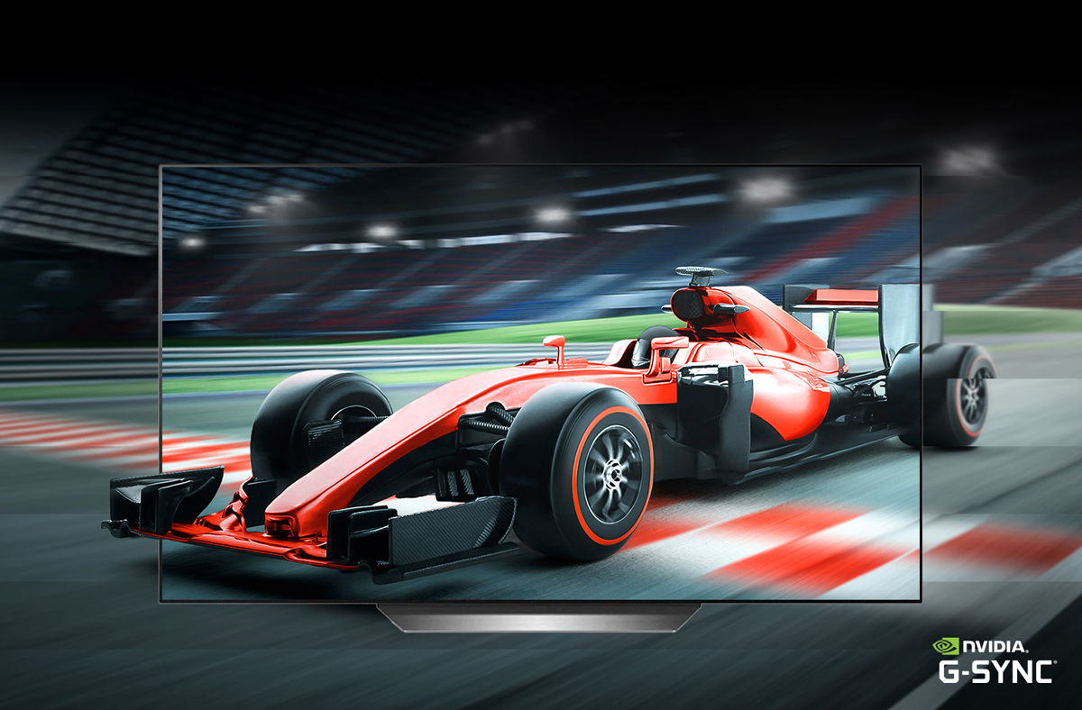 A red racing car only shows buttery smoothness on the LG OLED TV and part of it shows buttering outside the TV screen.