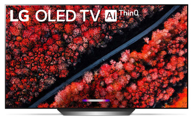 The front view of LG C9 series TV which shows a field filled with brightly red flowers from an airial perspective.