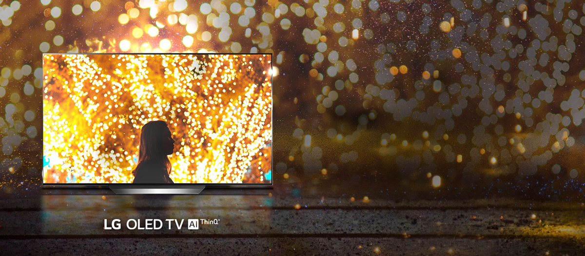 A picture of vibrant light with only the part on the LG OLED TV C9 TV is displayed brightly