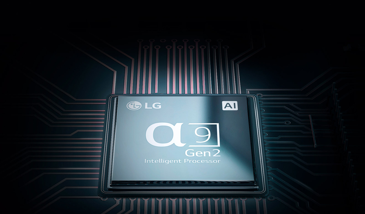 A close-up view of a9 Gen 2 Intelligent Processor with circuit in the background