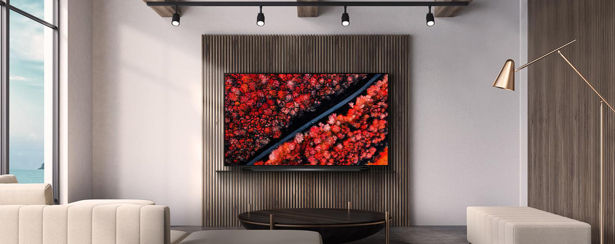 An LG OLED TV on the wall shows a field filled with brightly red flowers from an airial perspective.