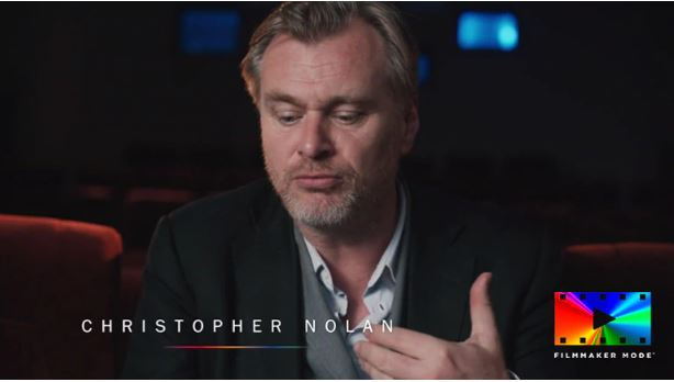 Christopher Nolan is talking in a cinema. In the bottom right corner is an icon for filmaker mode.