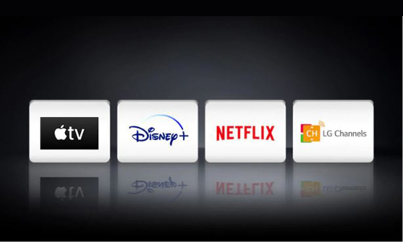 Four icons are listed together, including Apple TV, Disney+, Netflix, and LG Channels