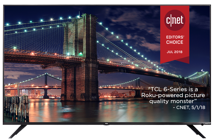 TCL R617 Smart LED Roku Smart TV Facing Forward and A bridge surrounded by lights adorns the charming night view