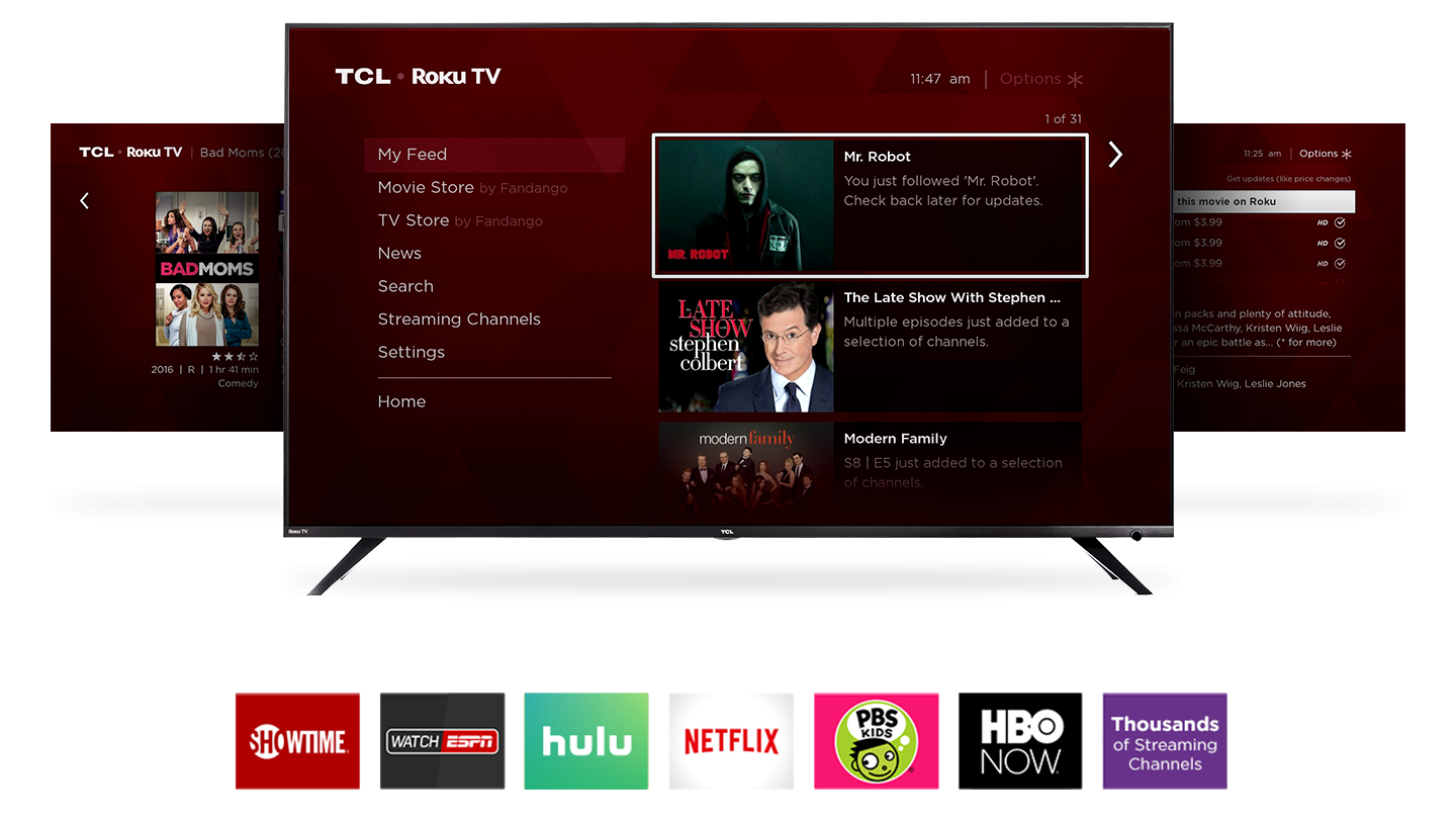 TCL R617 Smart LED Roku TV smart platform providing thousands of streaming channels
