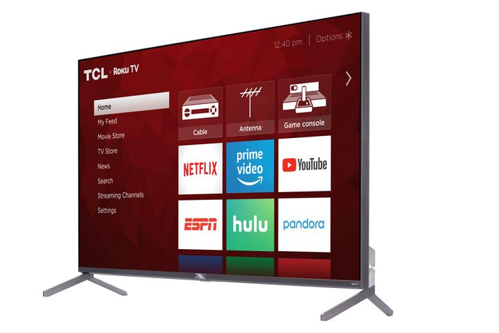TCL 55R615 smart TV angled to left