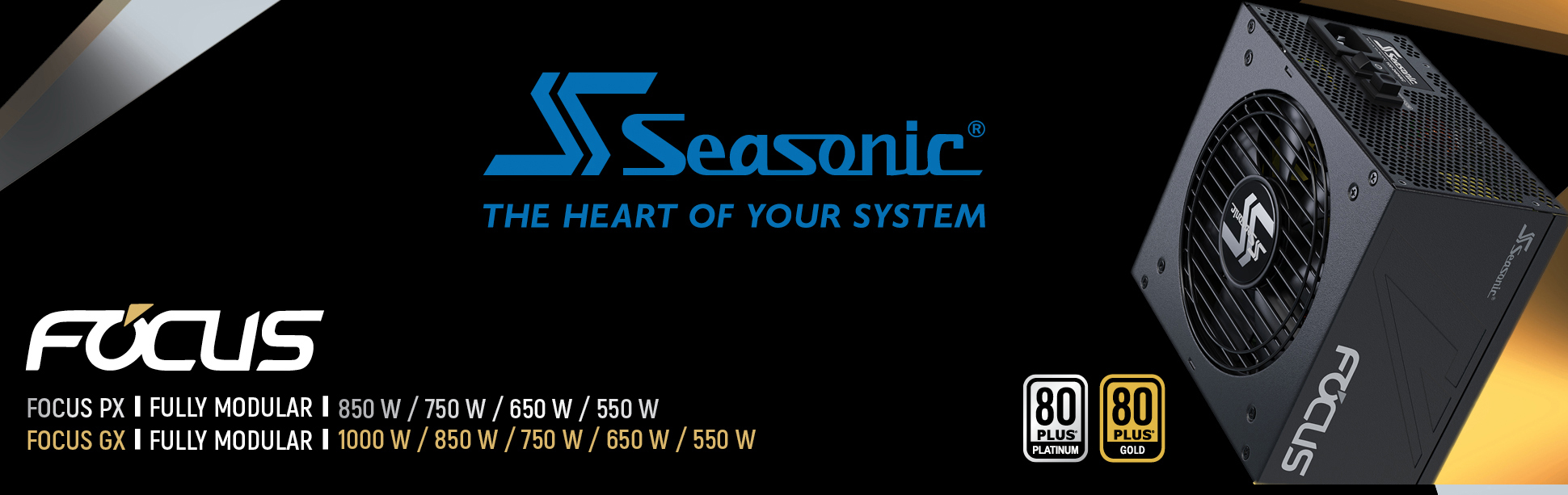 Seasonic Focus side view and Seasonic logo and 80 plus icon