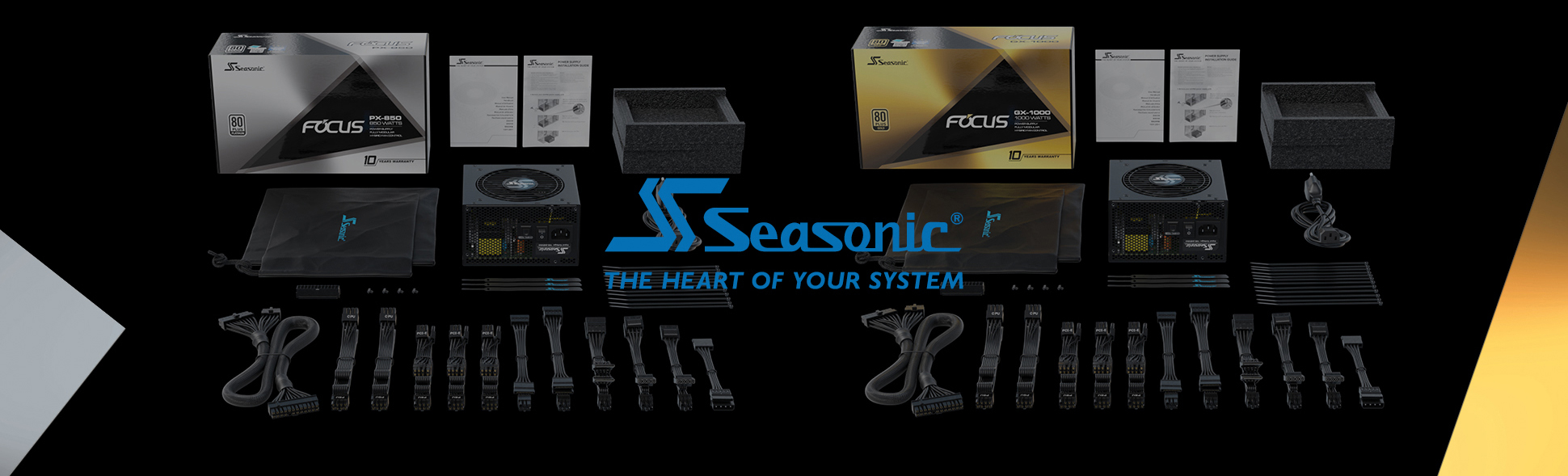 Seasonic Focus and Packing box and cables and accessories