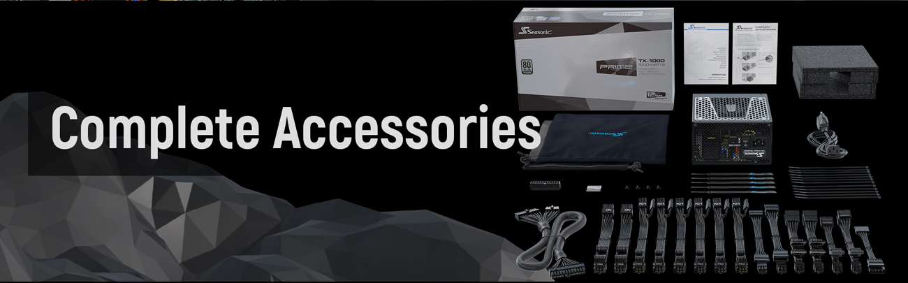 Seasonic PRIME Full Modular, Fan Control in Fanless, Silent, and Cooling Mode complete accessories