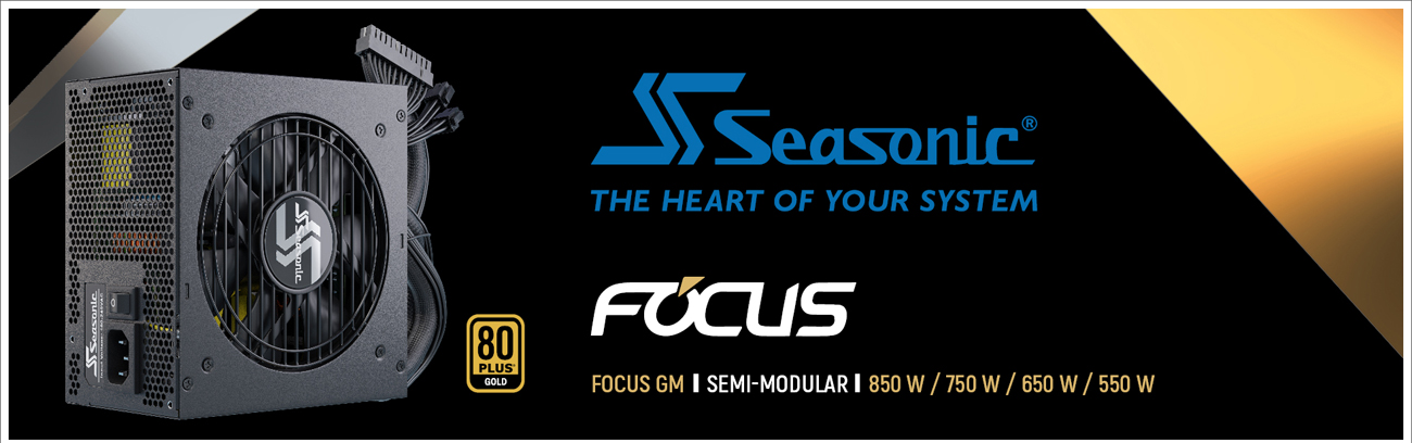 Seasonic FOCUS Semi-Modular Power Supply facing forward