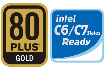 80 PLUS Gold Certified icon and Intel C6/C7 States icon