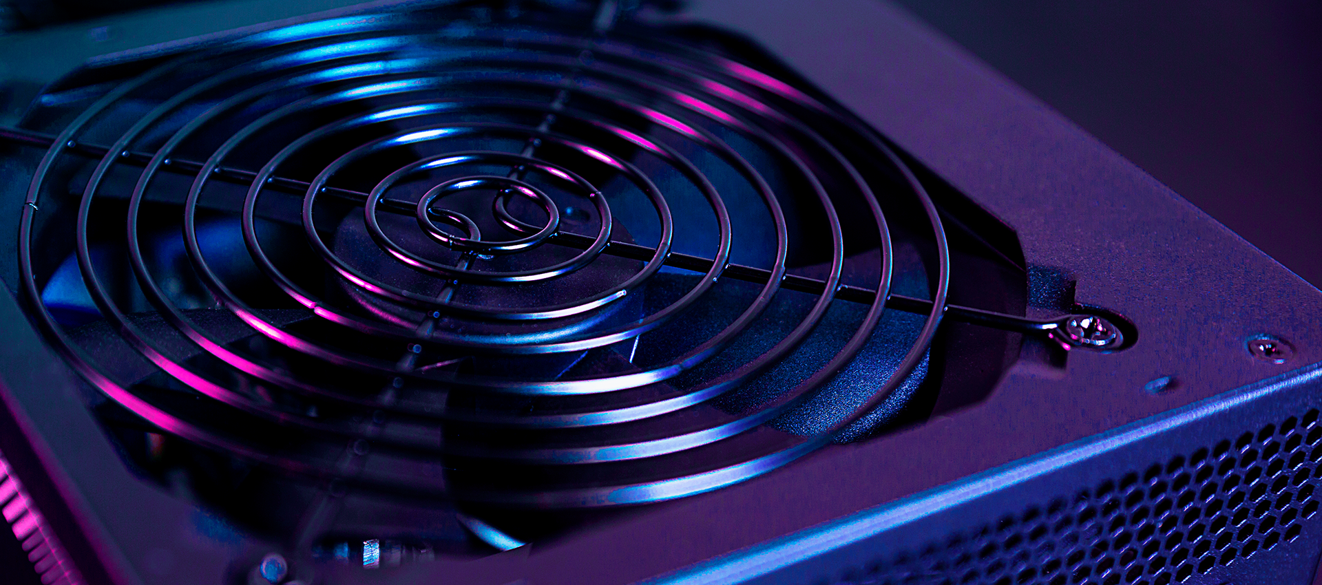 Close-up view of vent over fan