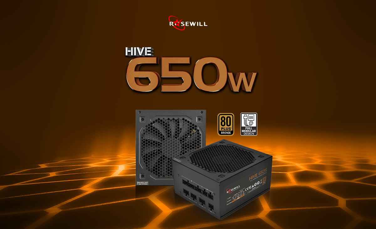 Rosewill Hive 650 Watt power supply banner showing angles of the top and angled down to the left with the Rosewill logo, 80 Plus Bronze and Full Modular Design icons on screen