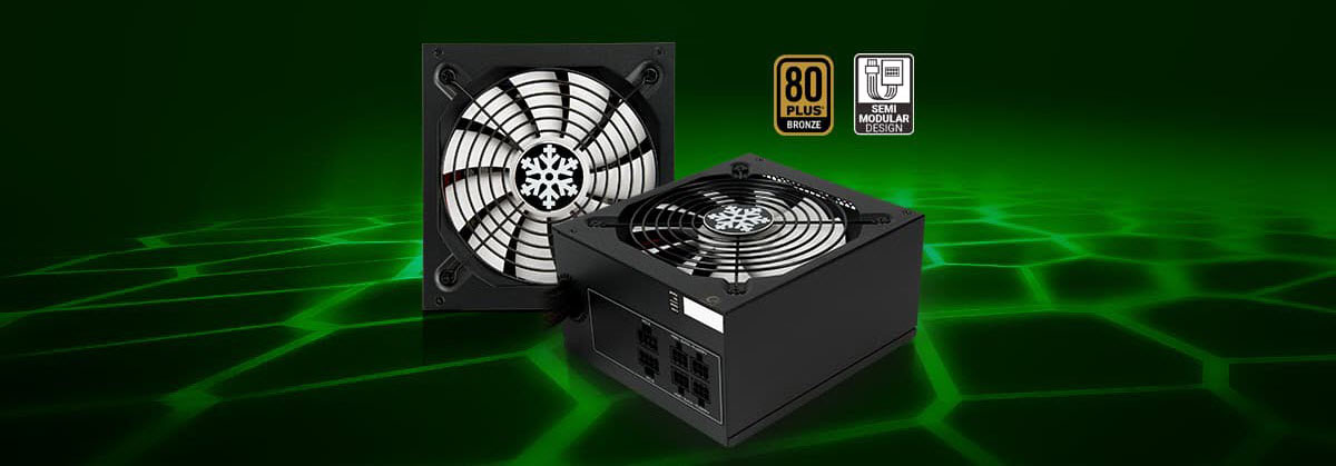 Rosewill Glacier Series Power Supplies on a Green Graphic Grid Surface Next to Badges for 80 PLUS BRONZE and SEMI MODULAR DESIGN