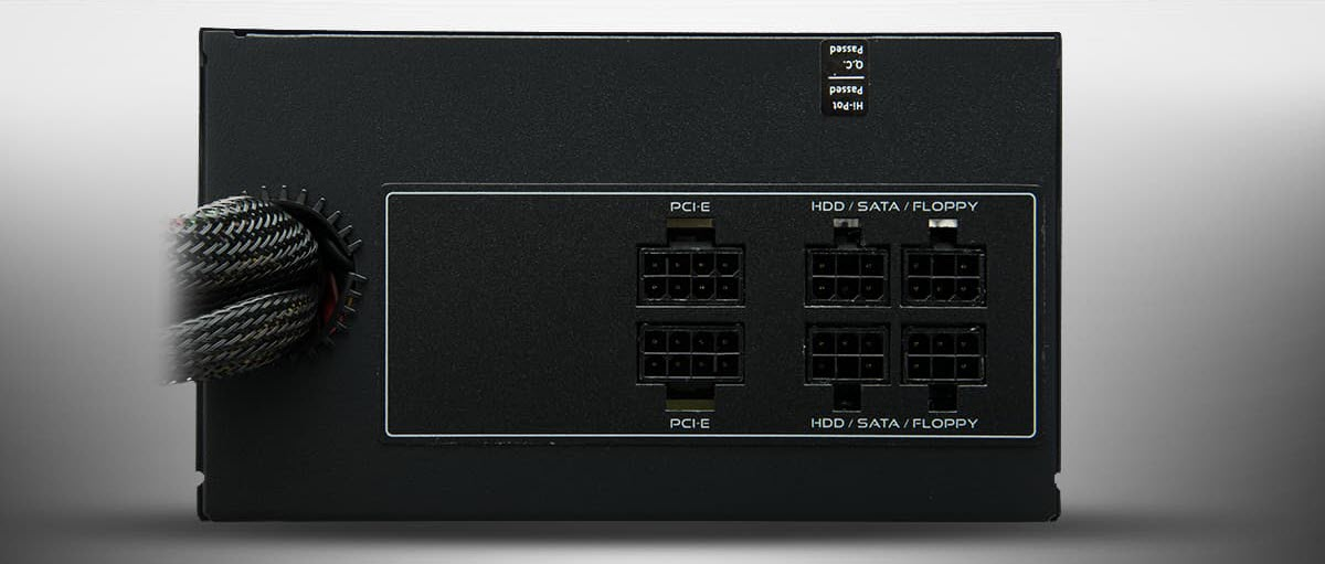 Semi-Modular Ports on the Back of the Rosewill Glacier Series Power Supply