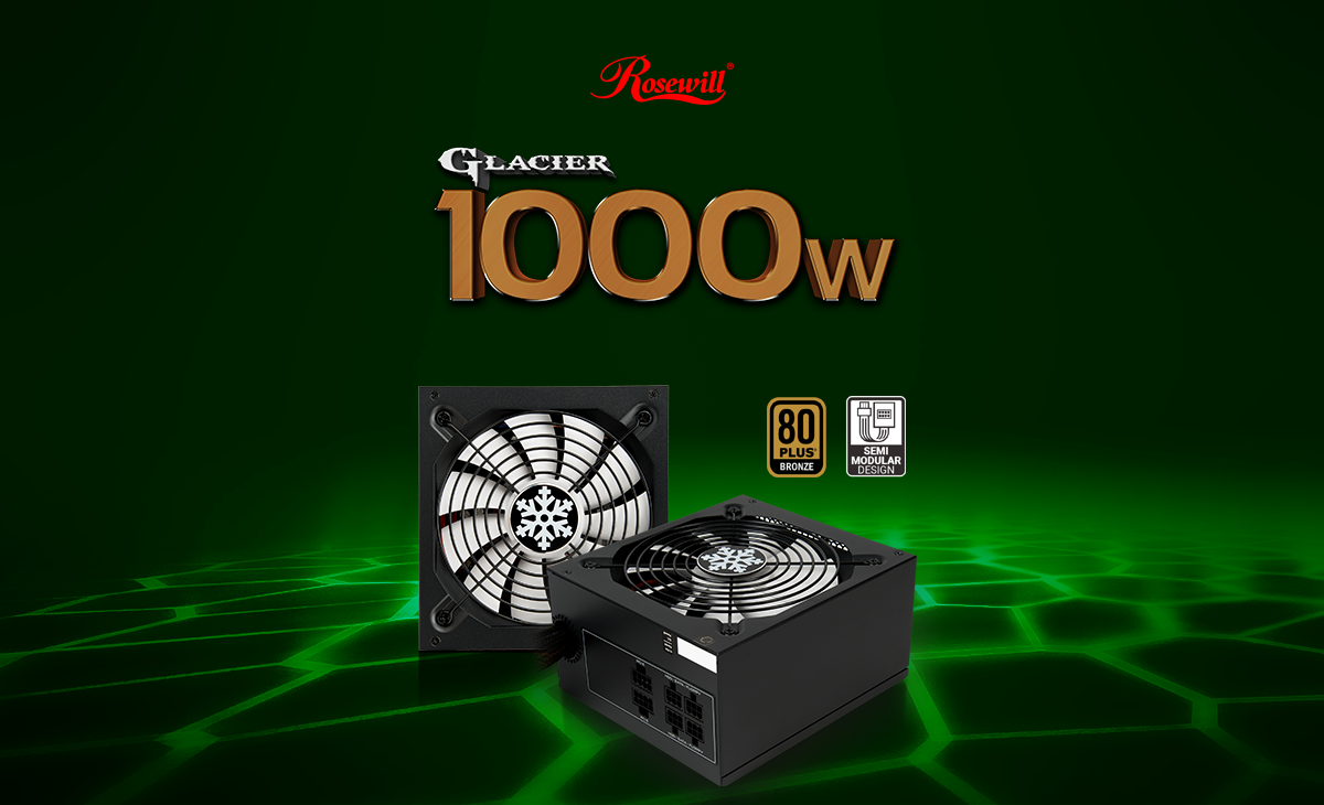 Rosewill Glacier 1,000 Watt power supplies, one facing forward with its main fan and the other angled down to the left next to the 80 PLUS BRONZE and Semi Modular Design Icons