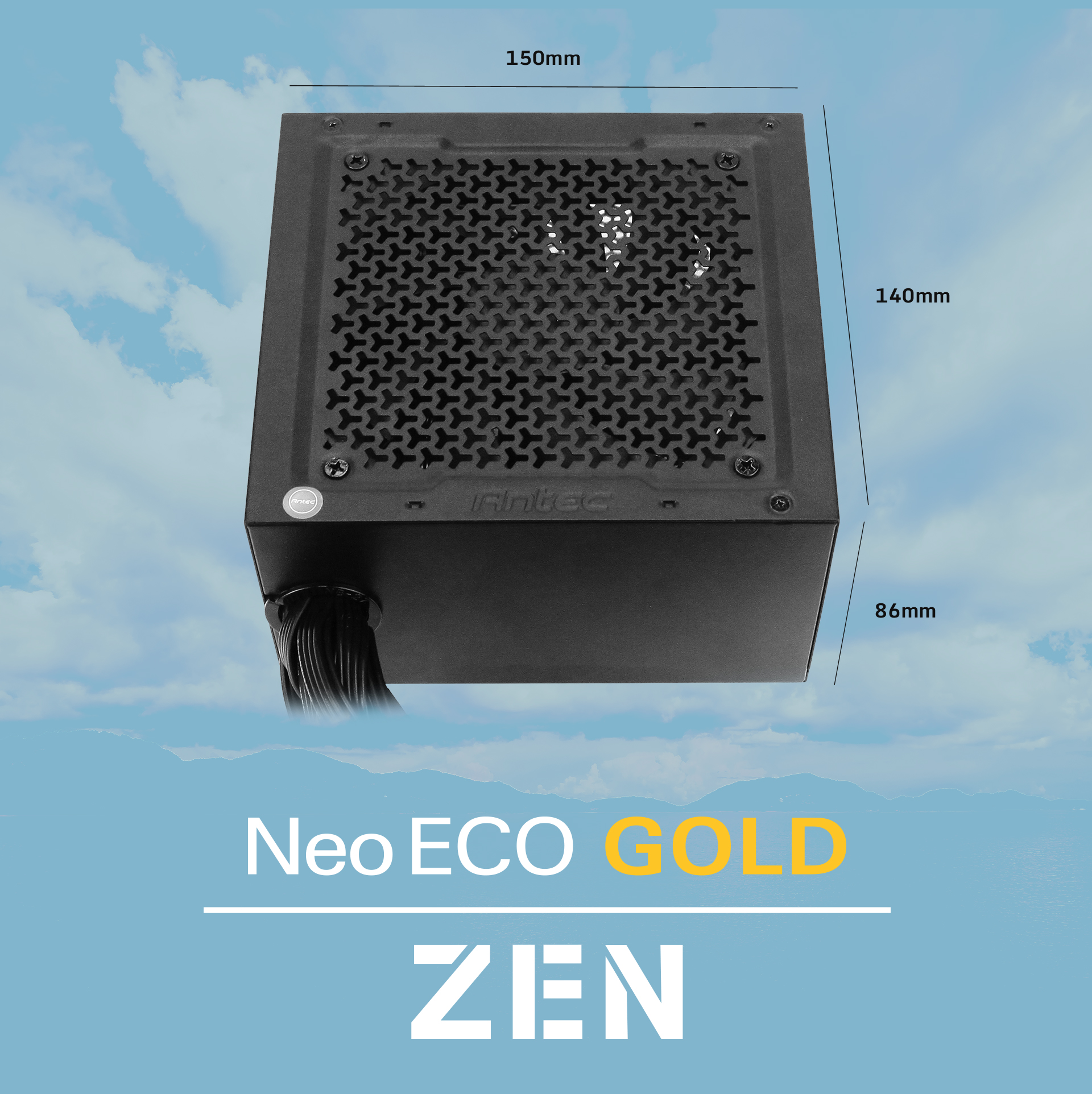Antec NeoECO Gold ZEN Series NE500G ZEN Power Supply length, width and height