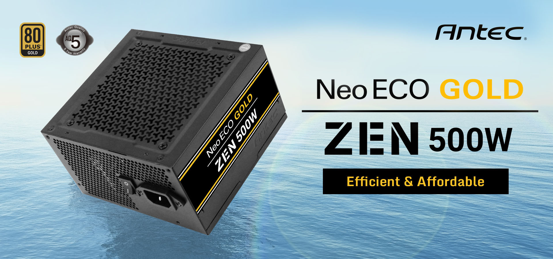 Antec NeoECO Gold ZEN Series NE500G ZEN Power Supply side view and Antec logo