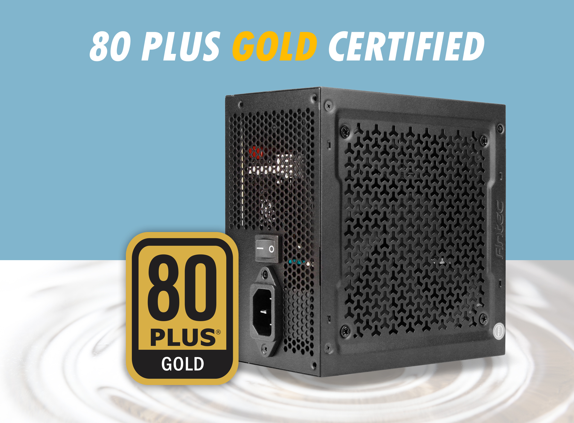 Antec NeoECO Gold ZEN Series NE500G ZEN Power Supply sid view and 80 PLUS GOLD icon