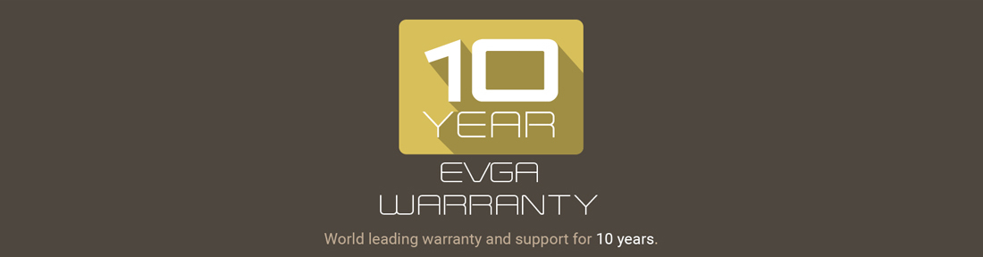 10-year EVGA warranty badge and text that reads: World-leading warranty and support for 10 years