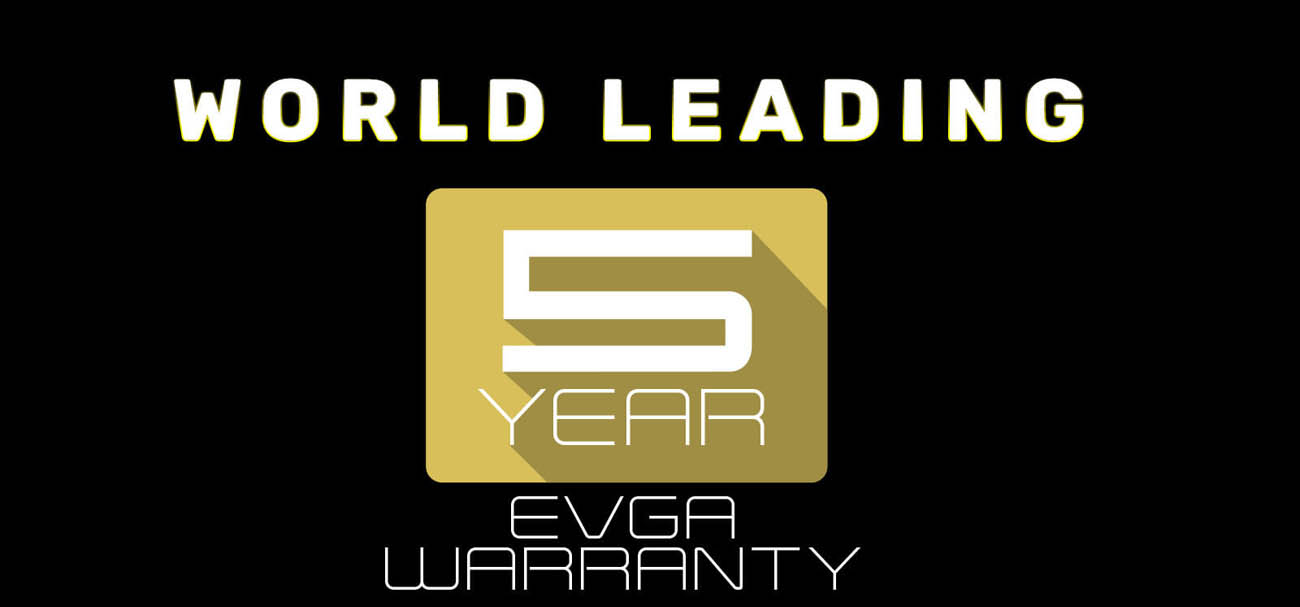 World leading EVGA warranty and support for 5 years icon