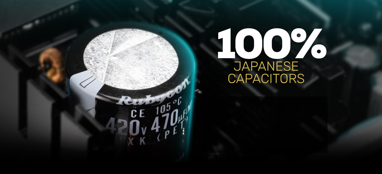 100% Japanese capacitors close-up