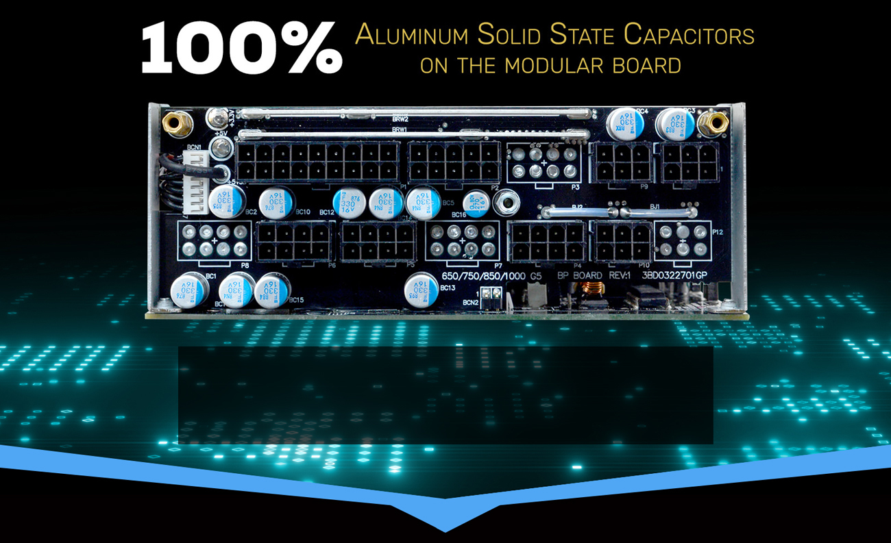 100% Aluminum solid state capacitors on the modular board Demonstration