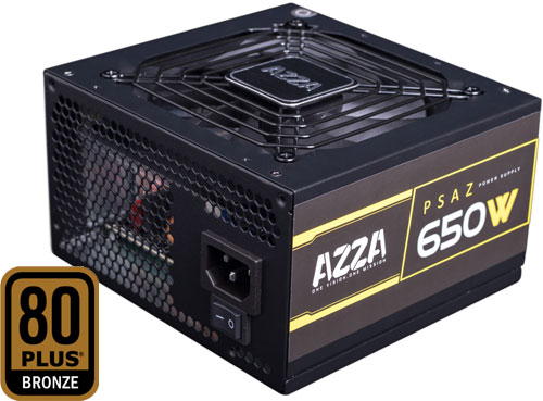 Top angle view of this power supply, with fan facing up, and with a 80 Plus Bronze logo on the left