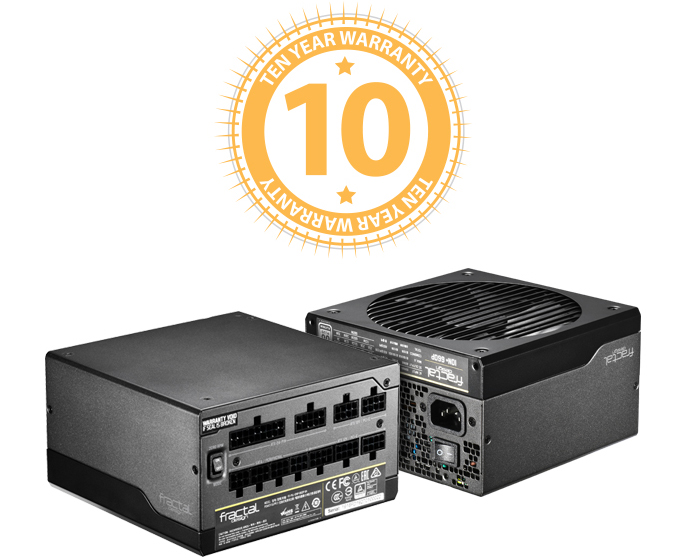 PROTECTION GUARANTEED Ten-Year Warranty Badge Above Two Fractal Design Power Supplies