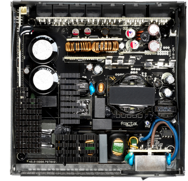 The interior components of a Fractal Design Power Supply