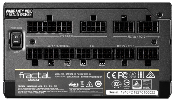 Ports on the Back of the Fractal Design Power Supply