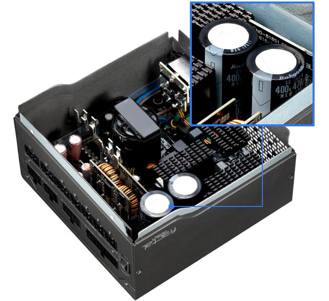 PREMIUM CAPACITORS inside an open fractal design power supply