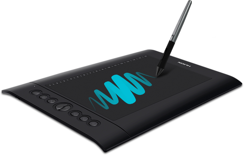 A digital pen drawing on the graphics tablet, with illustration showing strokes of different thickness