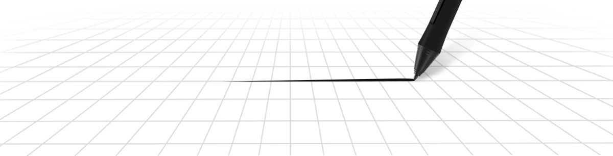 The digital pen drawing a smooth, gradually thick line on a grid