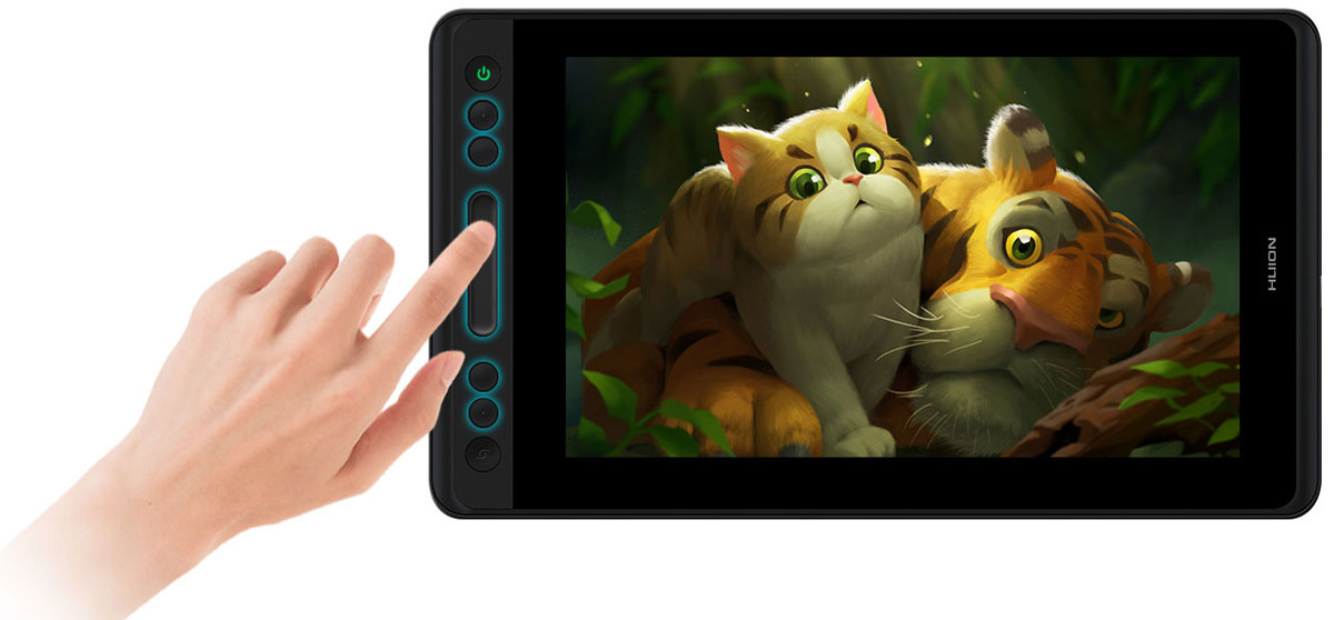 The Huion KAMVAS PRO 13 facing front with screen showing some cute animals. Four buttons and a touch bar at the left are highlighted, with a finger tapping the touch bar