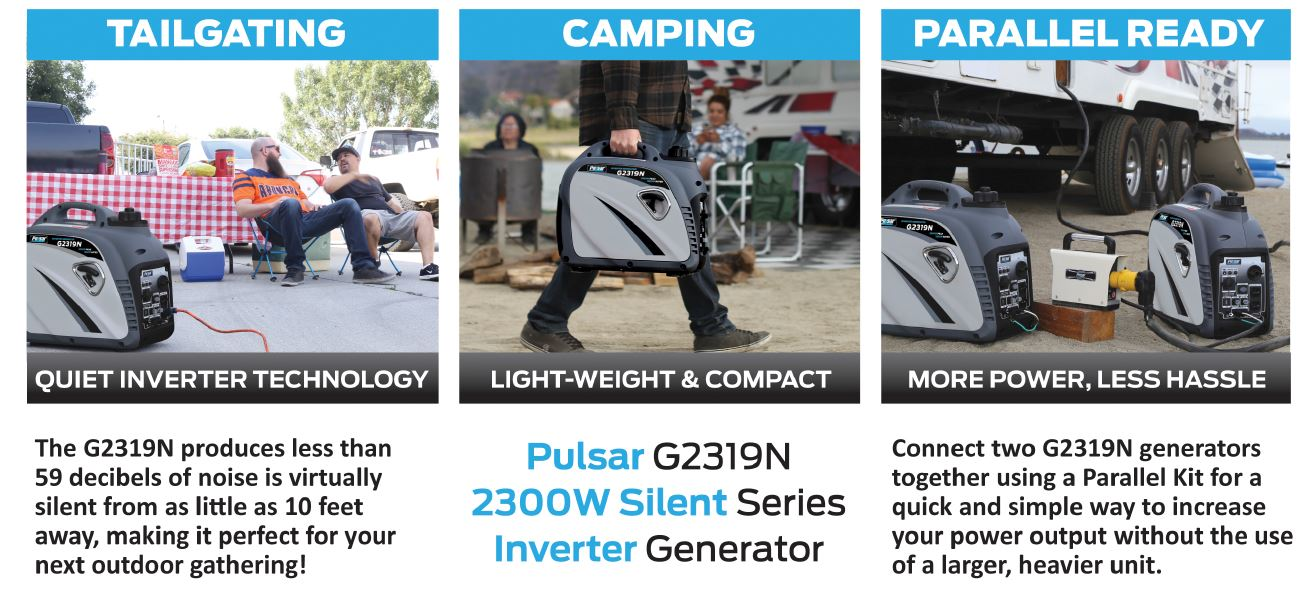 Pulsar 2,000W Gas-Powered Quiet USB Outlet & Parallel Capability, PG2000iS Portable Inverter Generator