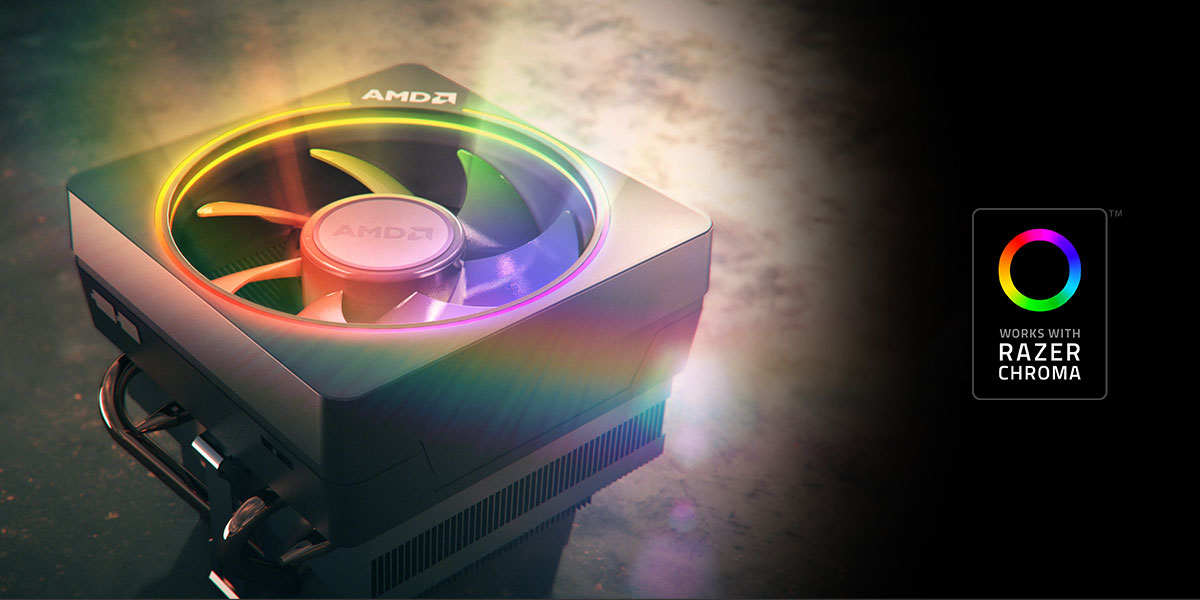 "Illustration of the AMD Wraith Prism coller illuminating RGB colors, with a logo of ""works with Razer Chroma"" next to the cooler on the right"