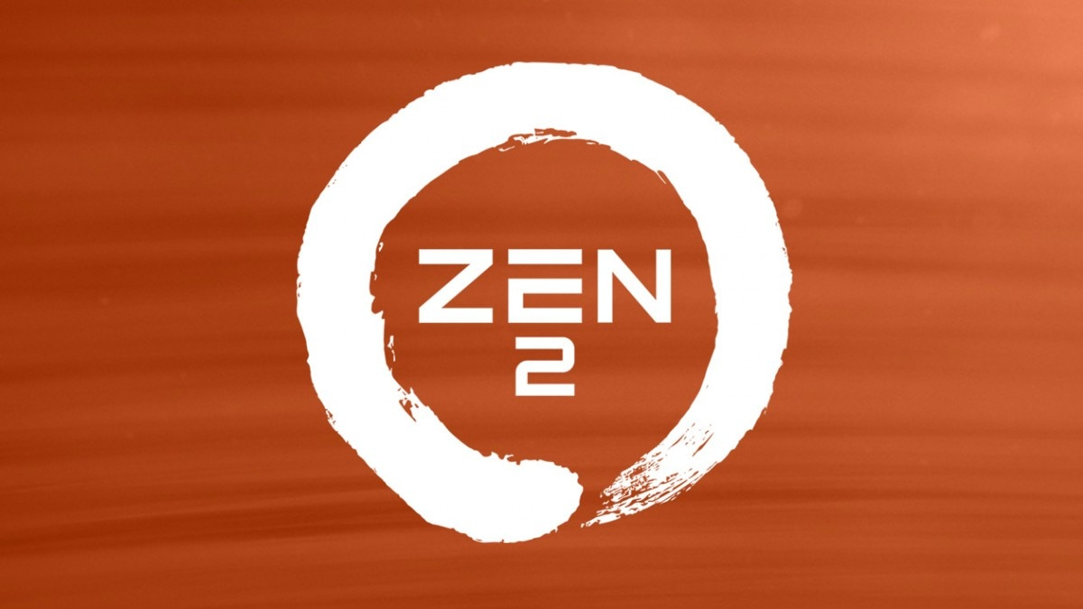 A white logo of Zen 2, with orange background