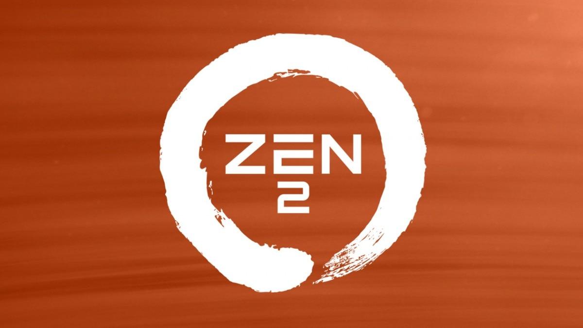 A white logo of Zen 2, with orange background
