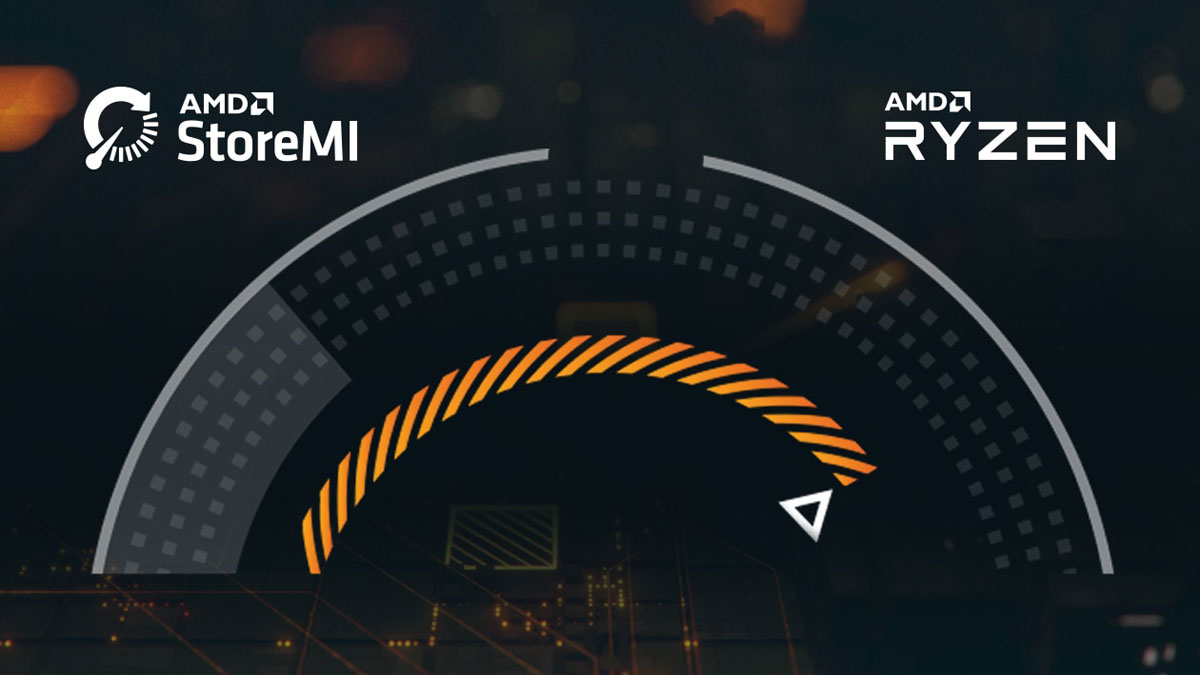 An illustration of a tachometer. Above it are logo of AMD Store MI and texts reading as AMD Ryzen