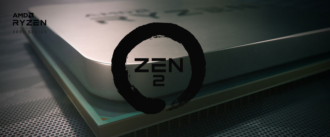 "Closeup of a corner of an AMD Ryzen processor, with logo of Zen 2 at the center, and texts at the top left corner reading as ""AMD Ryzen 3000 series"""