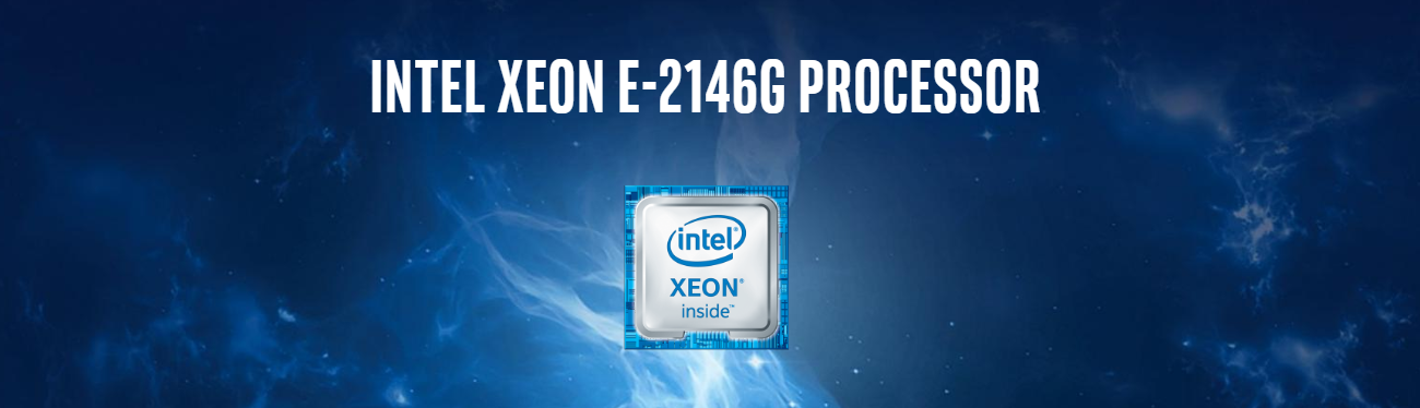 Intel Xeon E-2146G processor logo against a deep blue background