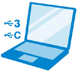 Blule graphic showing an open laptop, angled to the left with USB icons and 3 + C text next to it