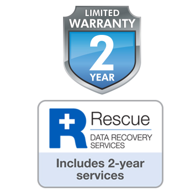 Limited Warranty 2 Year  badge and Rescue Data Recovery Services badge