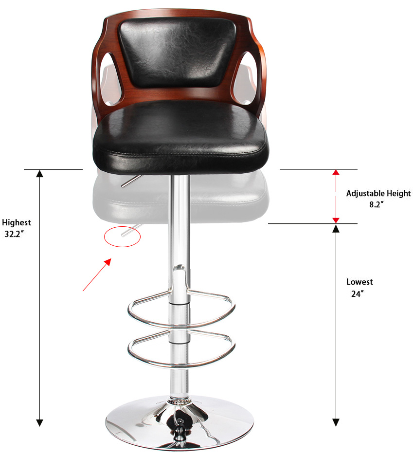 Homall Walnut Bentwood Bar Stool Larger Cushion Height