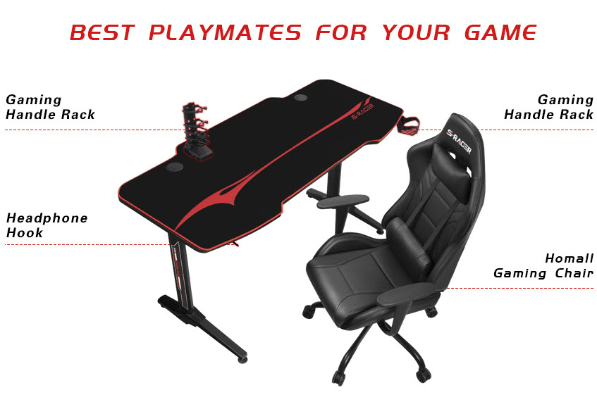 Homall 55 Inch Ergonomic Gaming Desk-a7