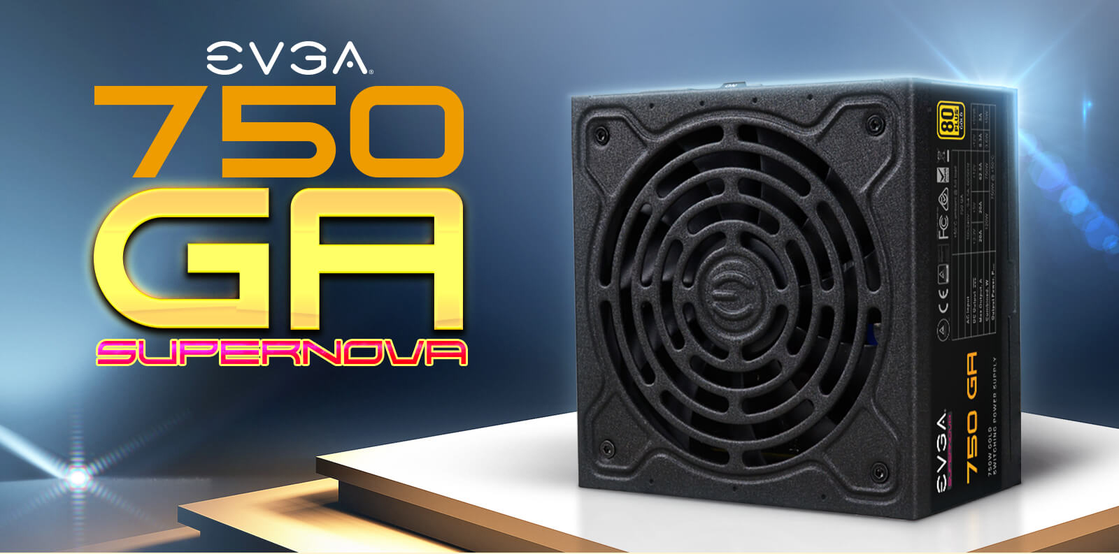 EVGA SuperNOVA 750 GA Fully Modular Power Supply facing forward and EVGA logo