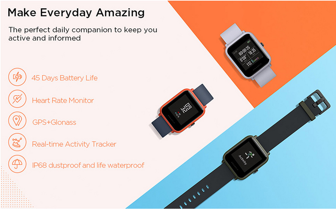 Amazfit Bip Smartwatch with All-day Heart Rate and Activity Tracking, Sleep  Monitoring, GPS, Ultra-Long Battery Life, Bluetooth, US Version, Service